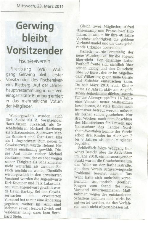 Westfalenblatt 23.03.2011